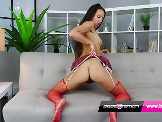 Lucky Lorenzo In Schoolgirl In Fishnet Stockings Plays With Her Tight Pussy