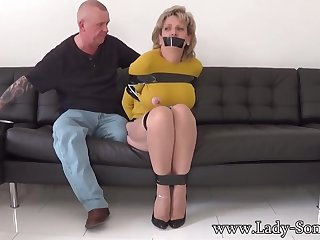Mature chick, Dame Sonia was bound up, while her colleague was gripping her meaty milk cans