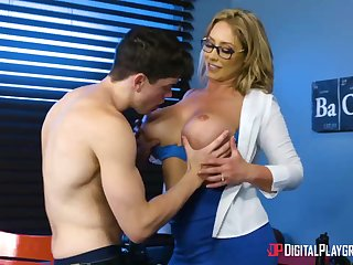 Huge-Boobed, towheaded cougar, Eva Notty is having hookup with her step- son-in-law, nearly every day